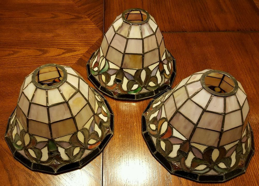 Sold A Set Of 3 Stained Glass Tiffany Style Lamp Shades