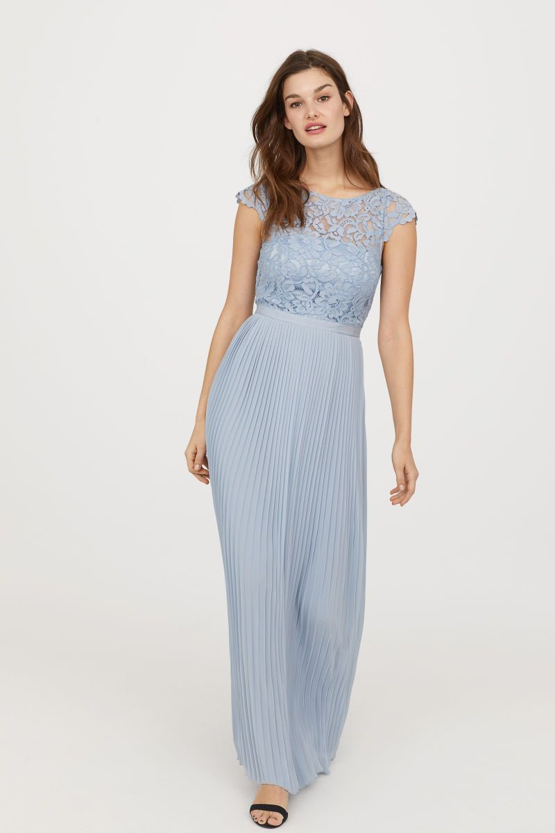 H&m blue lace dress  Pleated Long Dress  Light blue  WOMEN  HuM US  for fancy