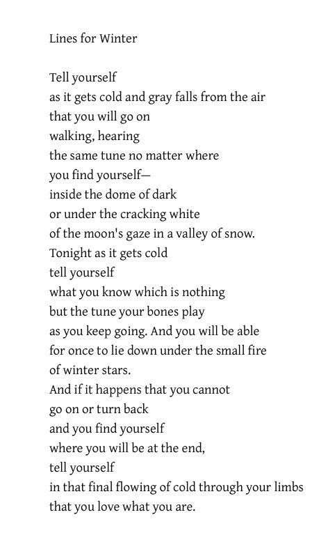 Lines For Winter Mark Strand Poetry Words Winter Poems Words