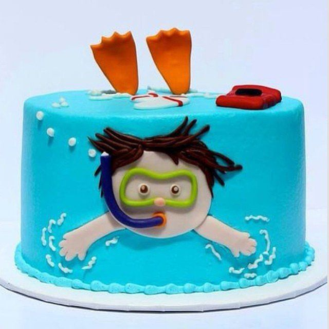 Swimming Cake On Pinterest Swimming Pool Cakes Gym Cake And Pool Birthday Cakes