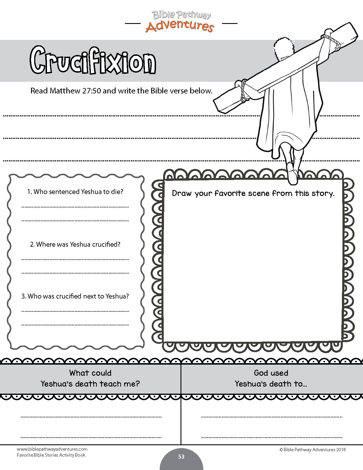 Crucifixion Worksheet For Kids