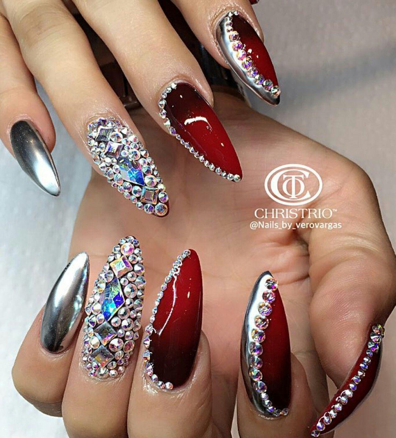 Red silver rhinestone nails design nailart | Nails | Pinterest ...
