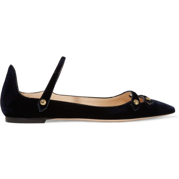 Jimmy Choo Layton velvet point-toe flats ($555) ❤ liked on Polyvore  featuring