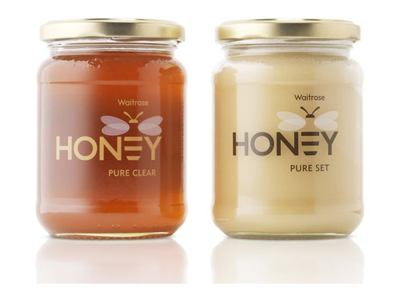 These Are Pretty Neat Honey Jars If You Look Closely The Bee S Stripes Form E In A Very Creative Way Of Combining Text With Logo