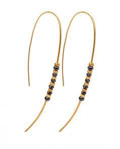 Image of Yossi Harari Michel Black Diamond Hoop Earrings