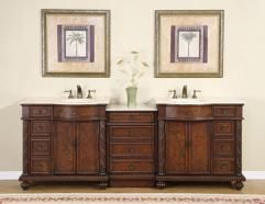 90 Inch Traditional Double Bathroom Vanity With Marble With