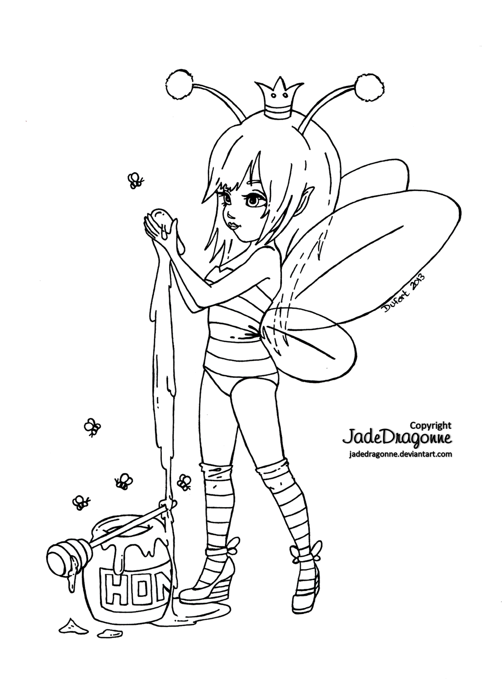Queen Bee Lineart By Jadedragonne On Deviantart Fairy Coloring Pages Cute Coloring Pages Fairy Coloring