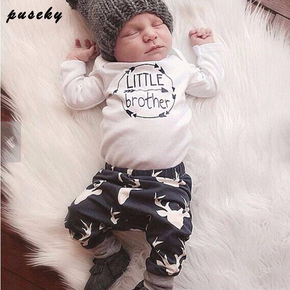 b7dec561c2c1 Newborn Baby Boys Little Brother Clothes Sets Tops Romper + Long ...