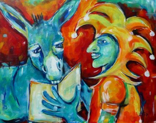 Lesen lehren - Acryl auf LW, 80x100cm, © Anja Huehn 2013......heute eine Geschichte auf Art11 !!!!!