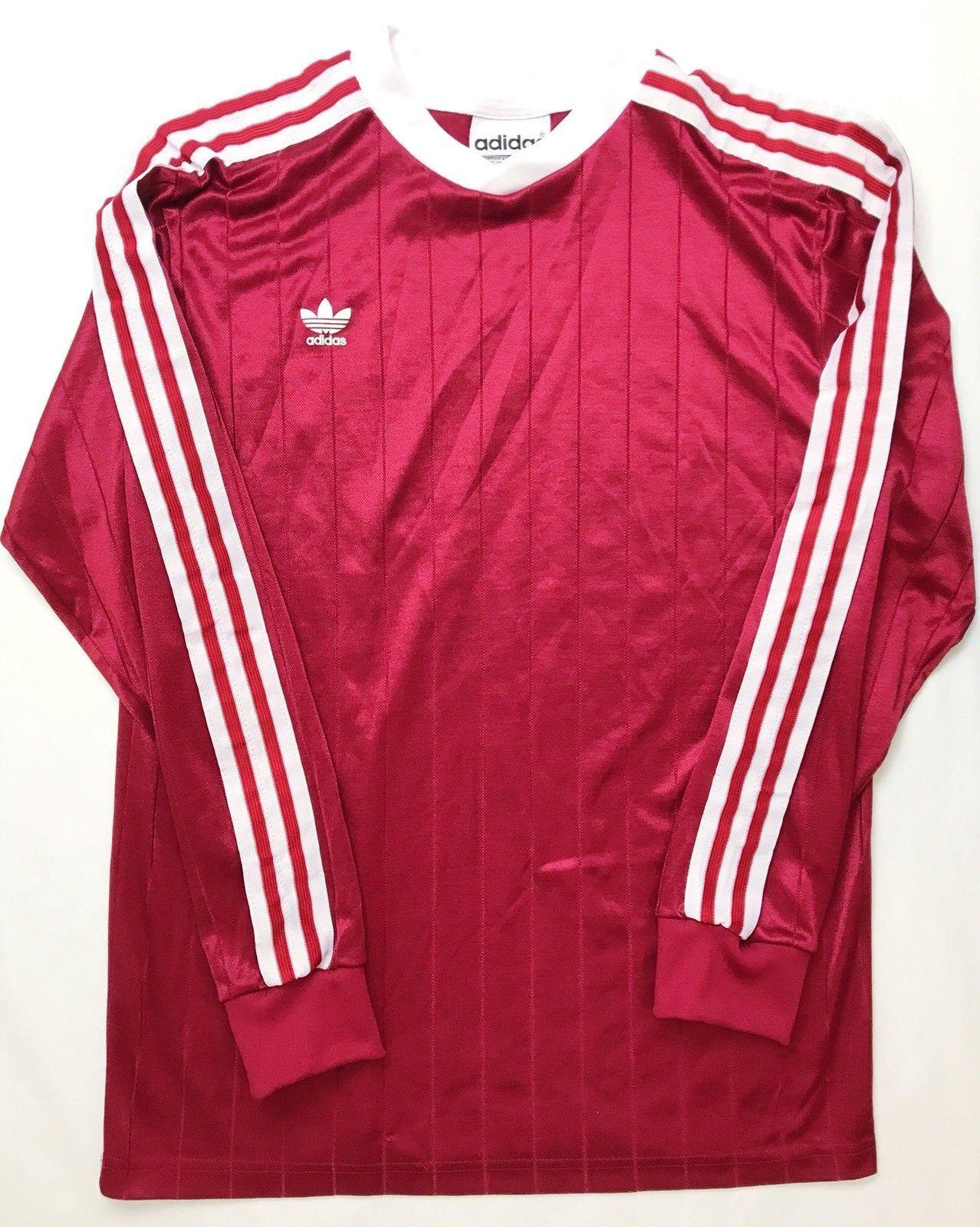 f711ab436 Vintage Adidas Mens Red White Medium Long Sleeve Football Goalkeeper Shirt