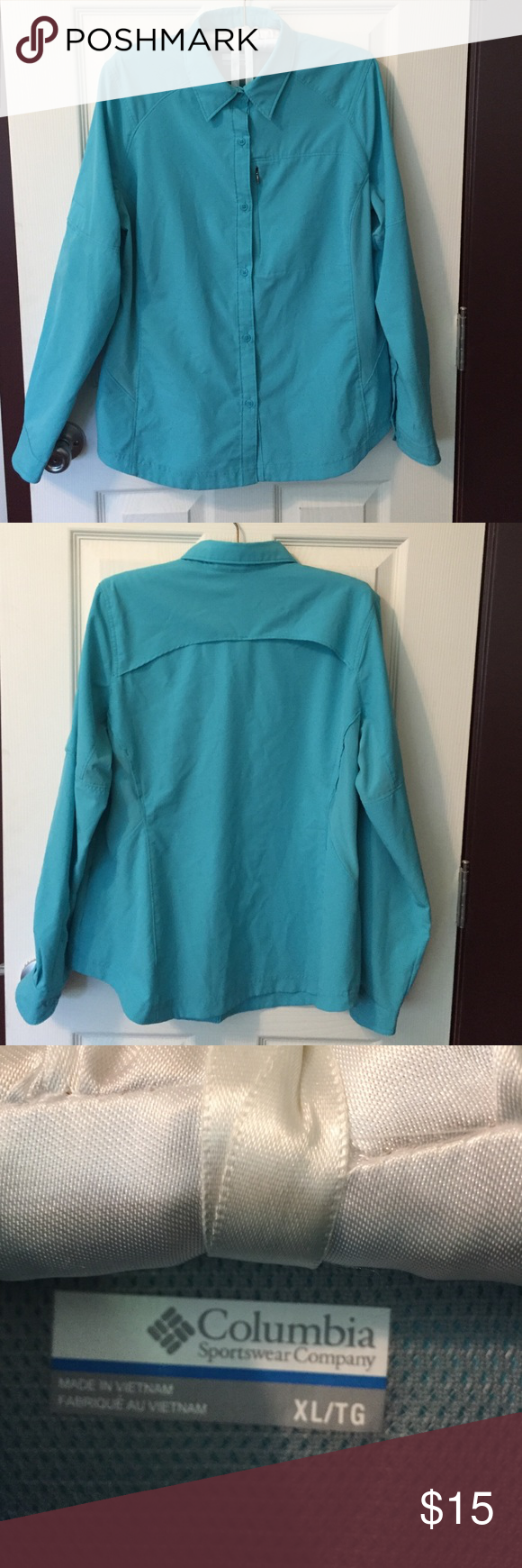 Columbia Trail Shirt Bright Teal blue color! Great condition! Only worn twice. Columbia Tops Button Down Shirts
