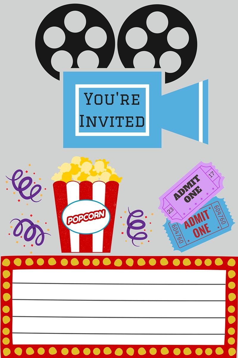 photo relating to Movie Night Invitations Free Printable referred to as Cost-free PRINTABLES Little ones celebration guidelines Video social gathering invites