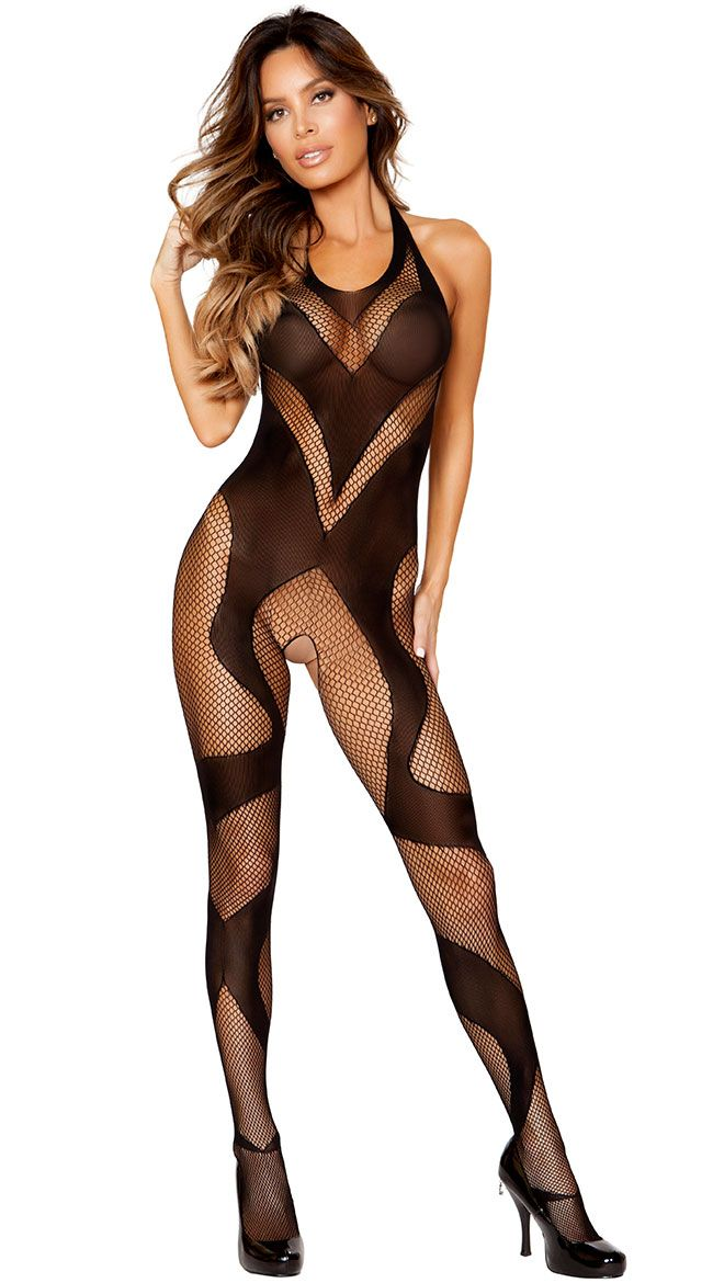 23ab80068 Swirly Fishnet and Mesh Crotchless Bodystocking