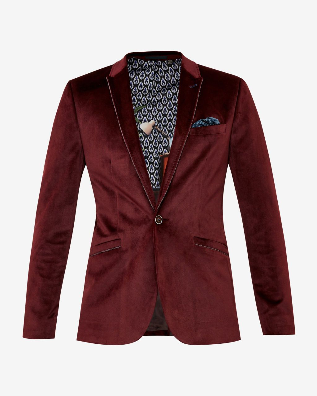 Velvet blazer - Dark Red | Blazers | Ted Baker UK | The Gent's ...