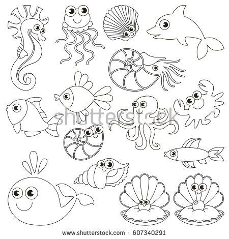 Sea underwater animals set to be colored, the big coloring