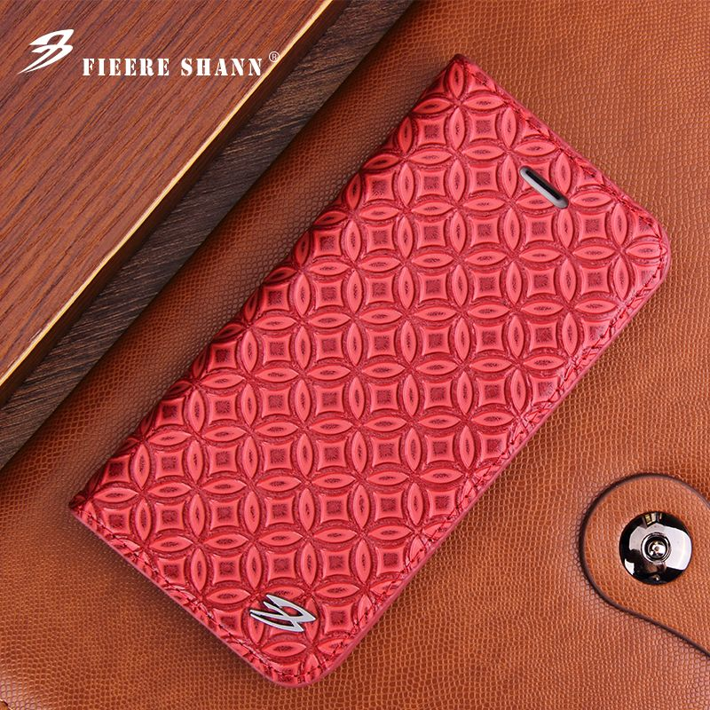 Fierre Shann for Samsung Galaxy S7 Edge S8 Plus S8 Cowhide Flip Case Genuine Leather for iPhone 6s 6 7 7Plus Kickstand Cover