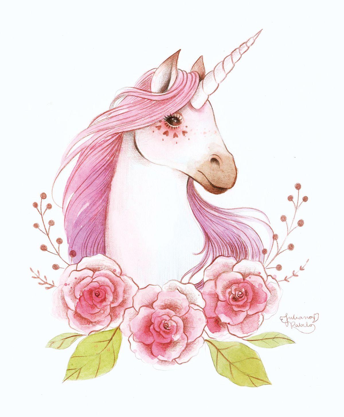 unicorn watercolor Juliana Rabelo