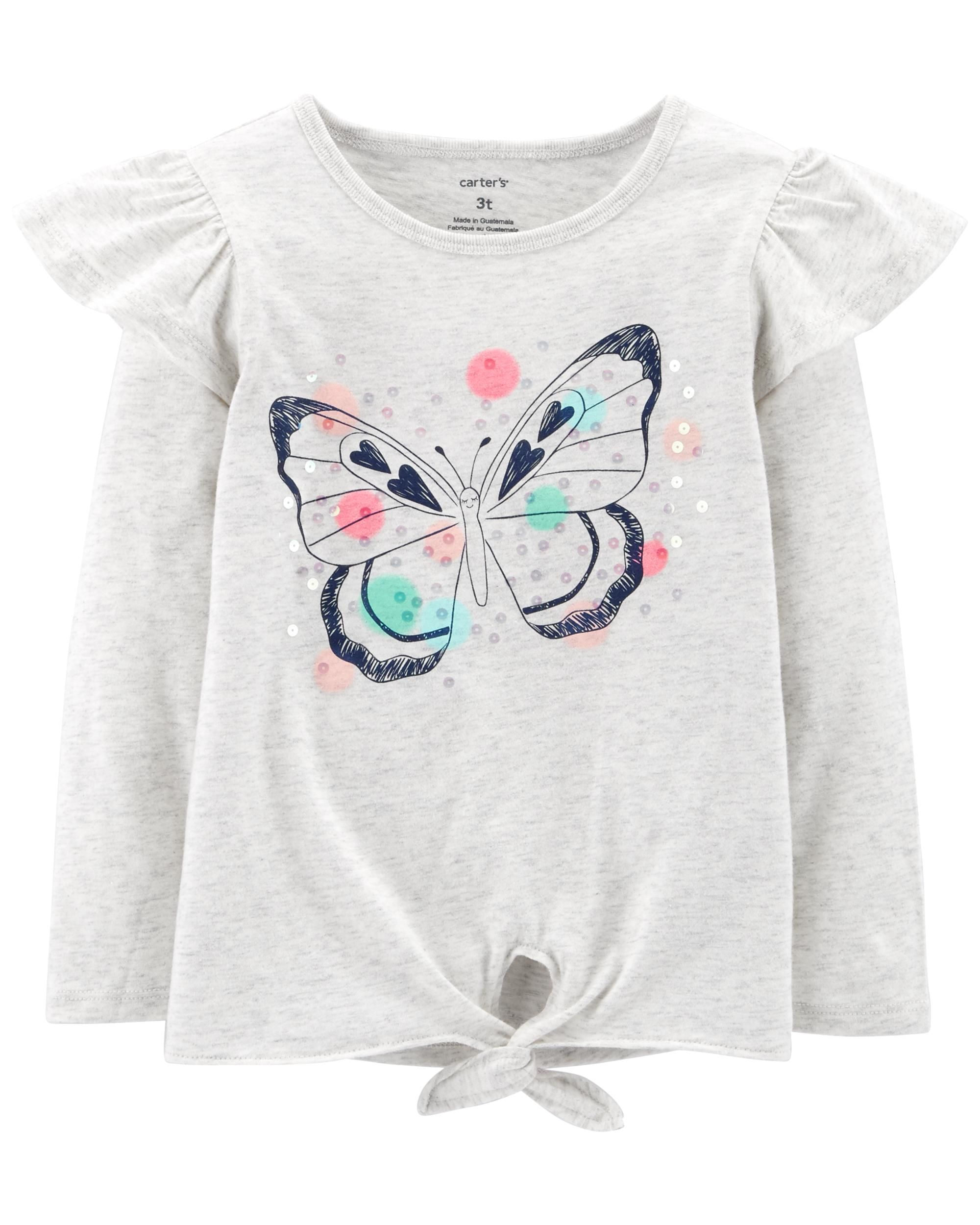 Cheap Baby Clothes Au Sequined Butterfly Tie Waist Tee Clothes For Sophia Baby Girl