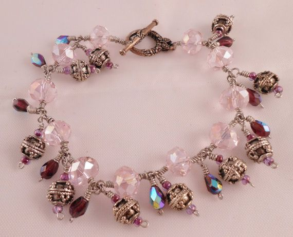 Pink Crystal Bracelet Swarovski Crystal Bracelet Purple by Rumis, $25.00