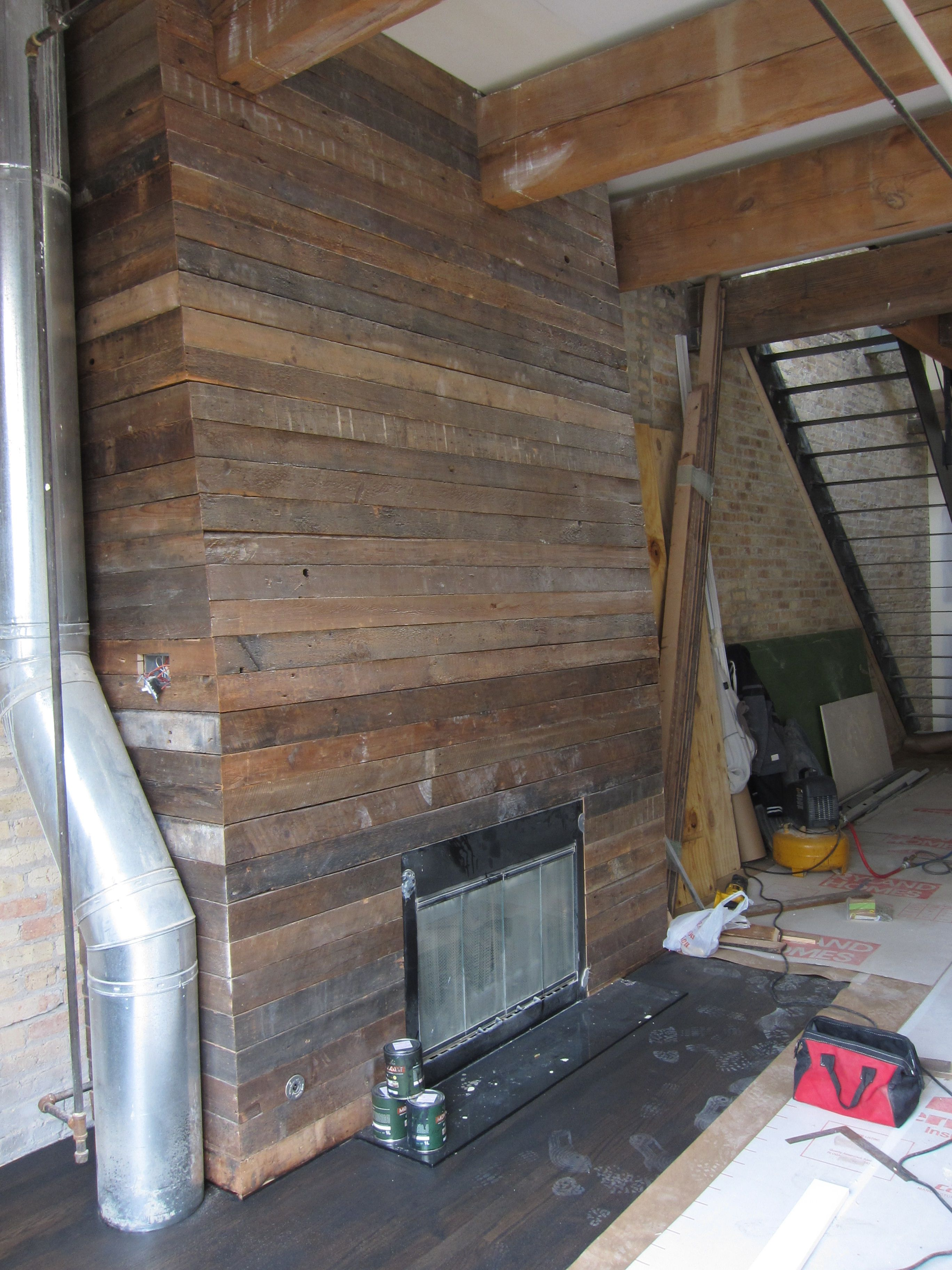 Barnwood Fireplace Surround For Back Room House Ideas Pinterest