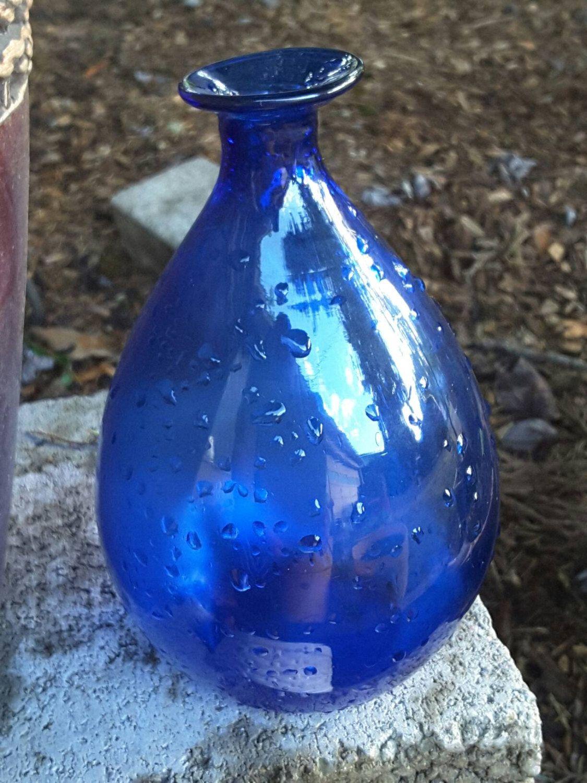 Vintage glass blue bulbous bud vaseblenko glass cotear drop vintage glass blue bulbous bud vaseblenko glass cotear drop shapped reviewsmspy