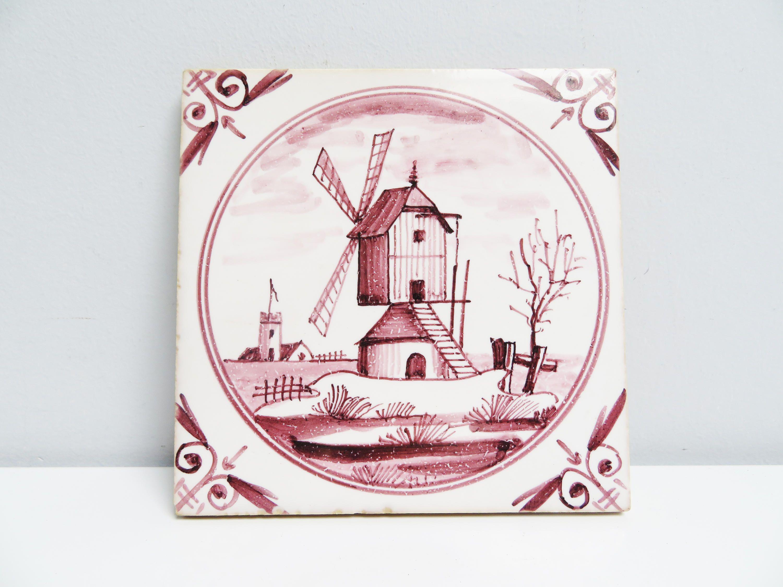 Vintage Ceramic Tile ceramic Trivet, kitchen Tile, fireplace ...