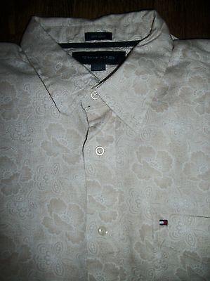 Tommy Hilfiger Men's Size L Short Sleeve 100% Linen Button-Front Shirt Pocket