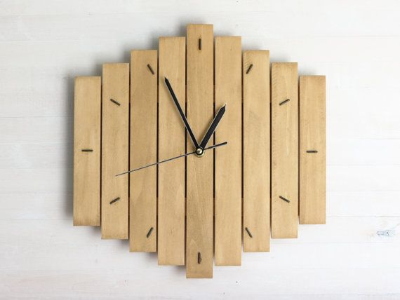 Brown Clock, Industrial Kitchen Art, Wall Clock, Wooden Decor ...