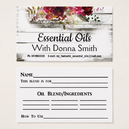 For Essential Oils Business Card  Sample Design Diy Personalize