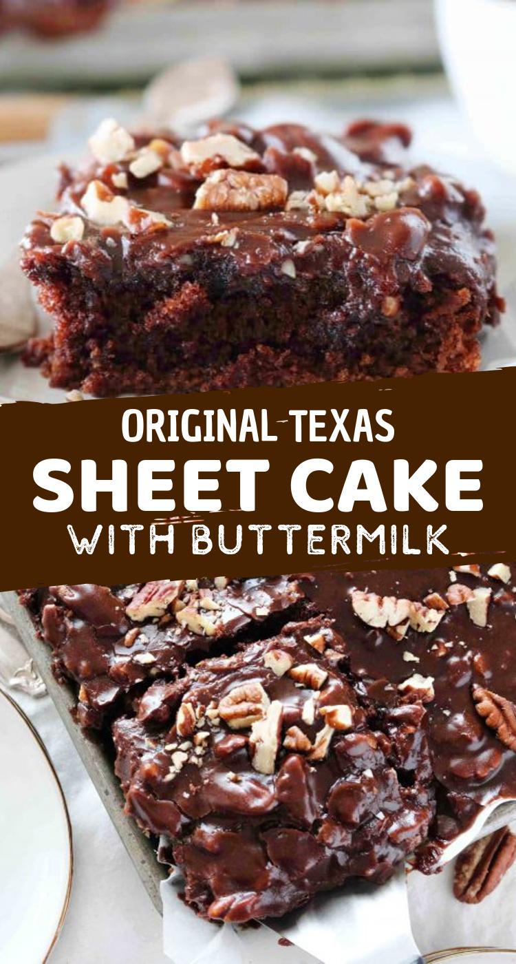 Original Texas Sheet Cake With Buttermilk Sheet Cake Recipes Original Texas Sheet Cake Texas Sheet Cake Recipe