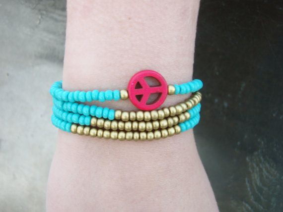 Turquoise & Gold Beads with Coral Peace Sign Set