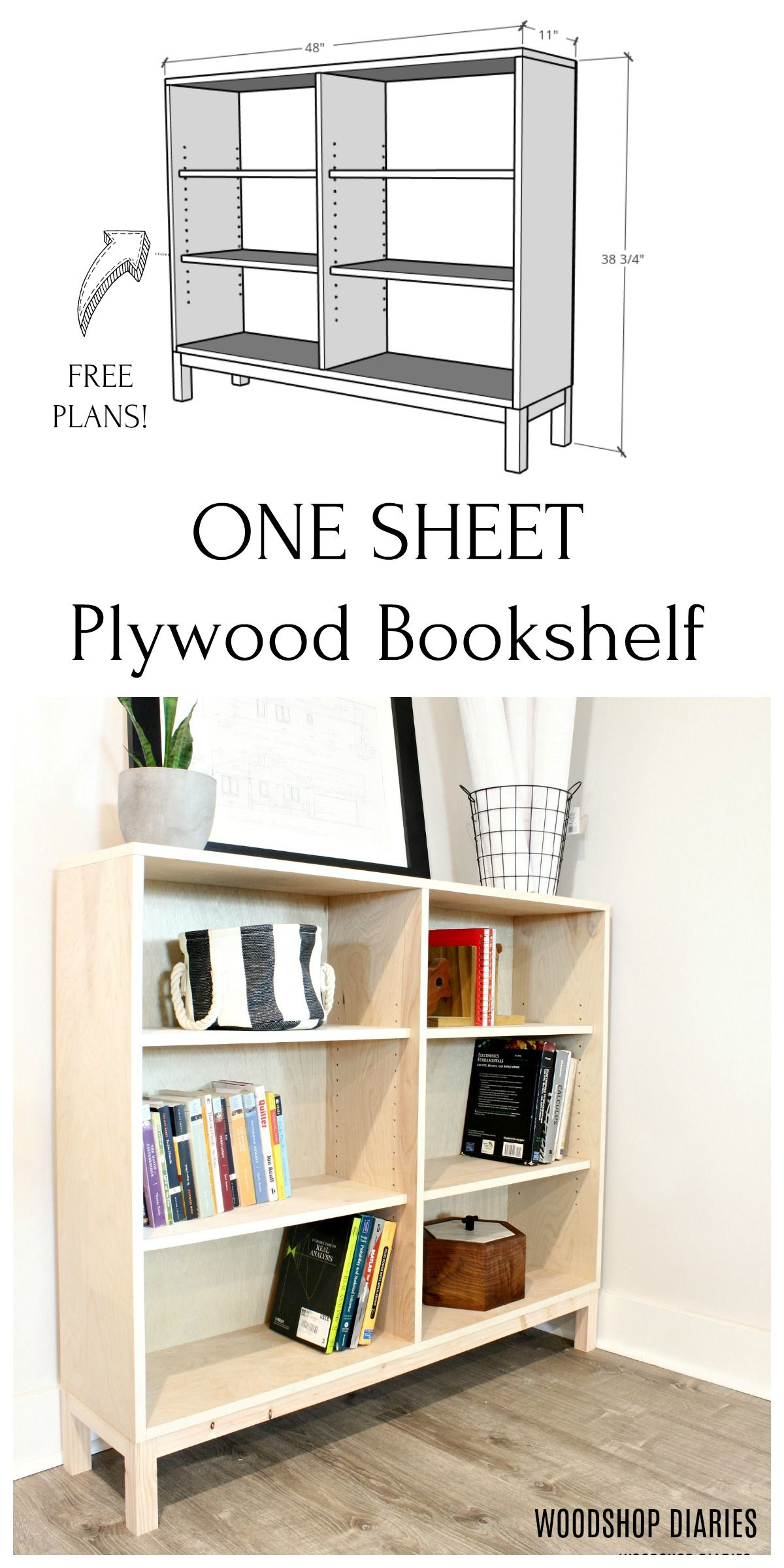One Sheet Plywood Bookshelf Small woodworking projects