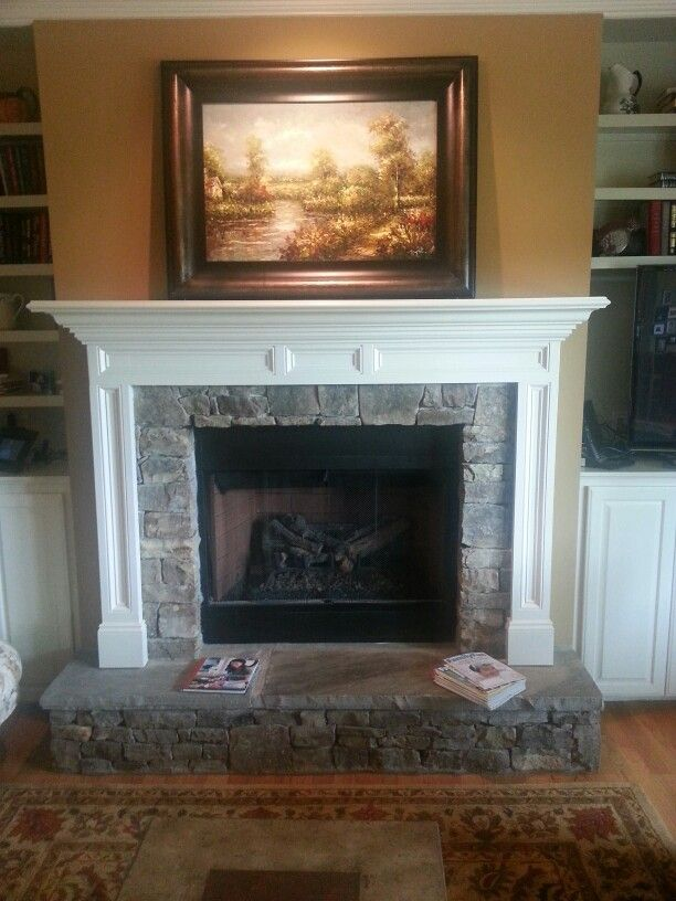 Stone Fireplace With Raised Hearth Fireplace Hearth Cottage Fireplace Craftsman Fireplace
