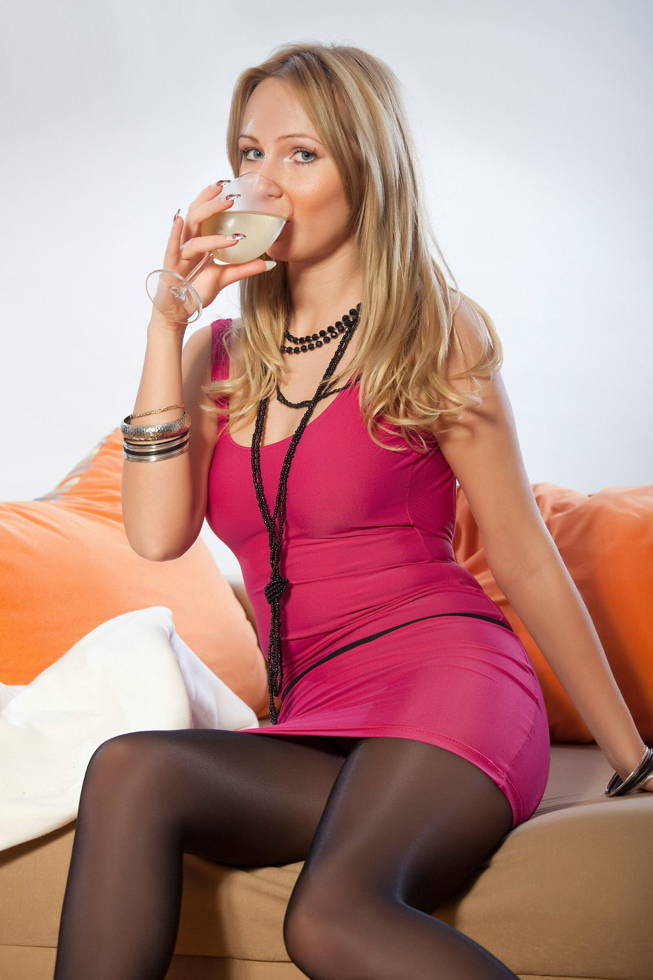 Drinking in pantyhose sexy