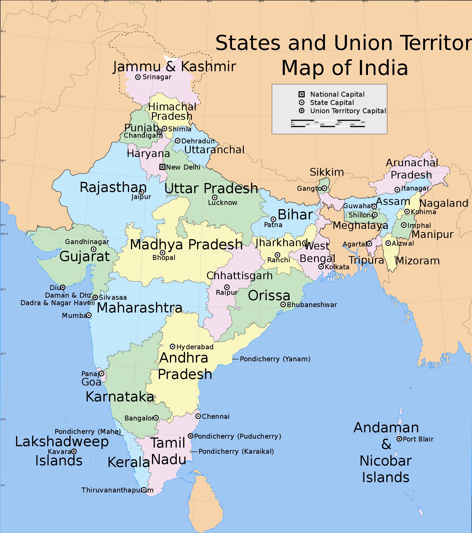 India states and union territories map  India  Pinterest  Union