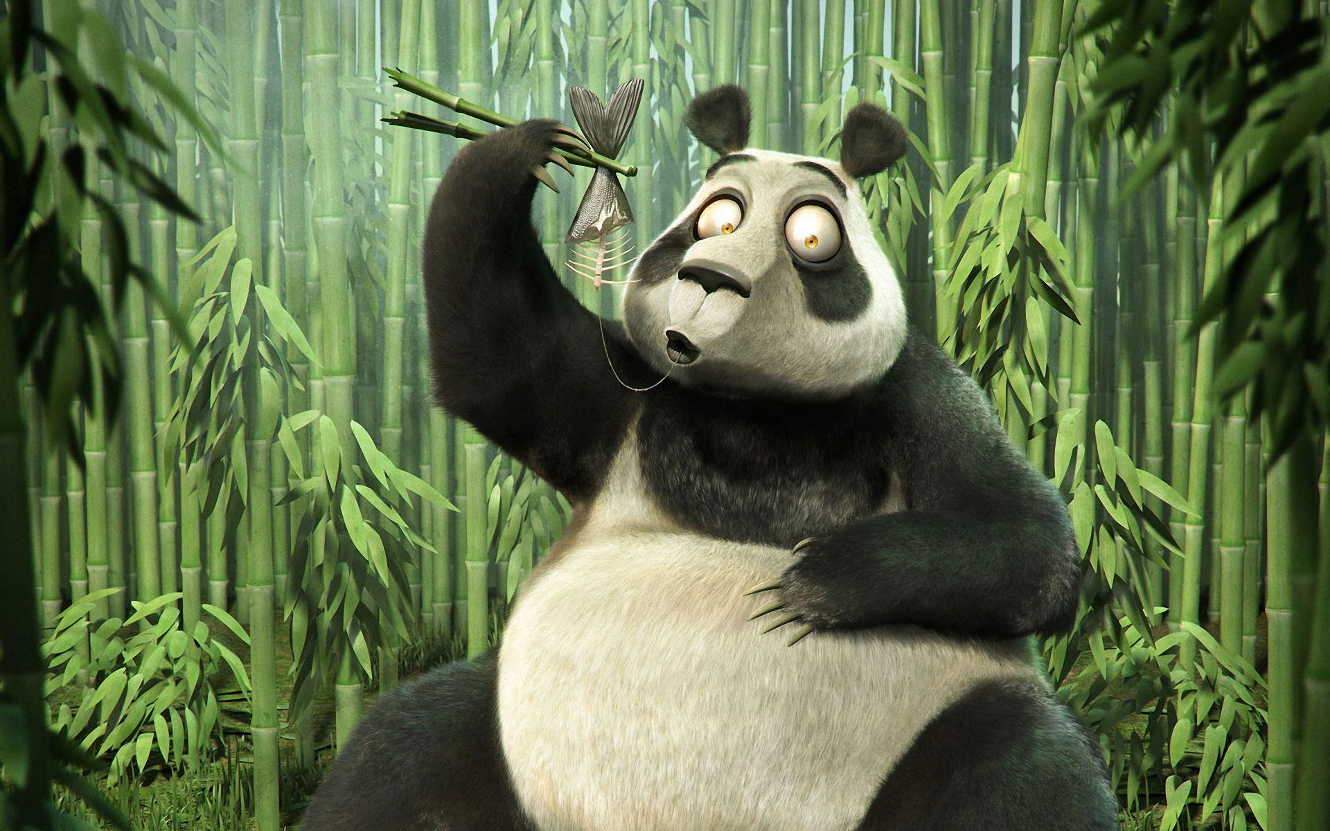 Panda, bamboo, fish and bones Illustration art, Cartoon