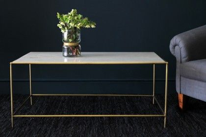 Marble Br Effect Coffee Table Rectangular Side Tables Furniture