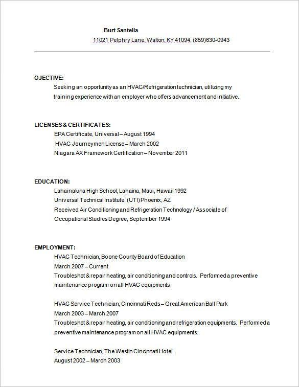 A C Technician Resume Examples Pinterest Resume examples and - hvac technician resume sample