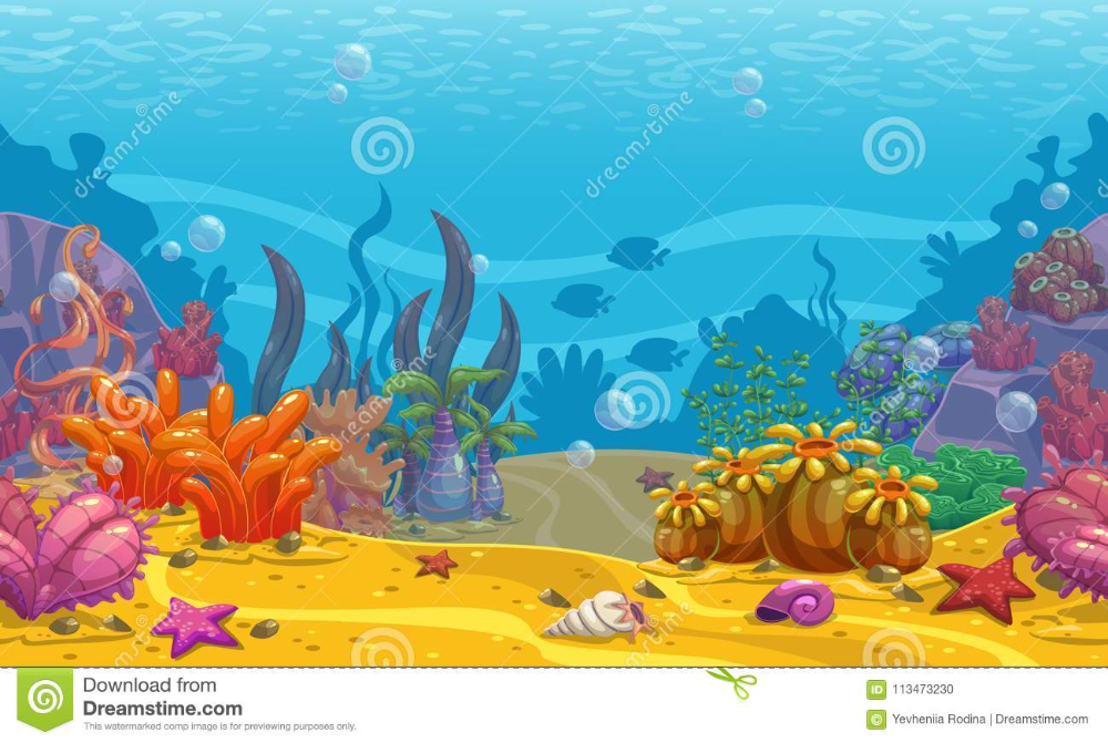 Cartoon Seamless Underwater Background Stock Vector Illustration Of Flora Bubbles 113473230 In 2021 Underwater Background Animation Background Vector Illustration