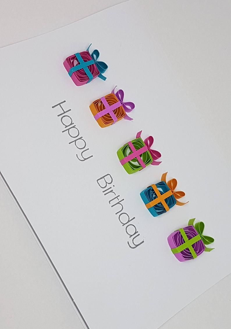 Paper Quilled Happy Birthday Card 5x6 5 Etsy In 2020 Paper Quilling Cards Quilling Birthday Cards Quilling Cards