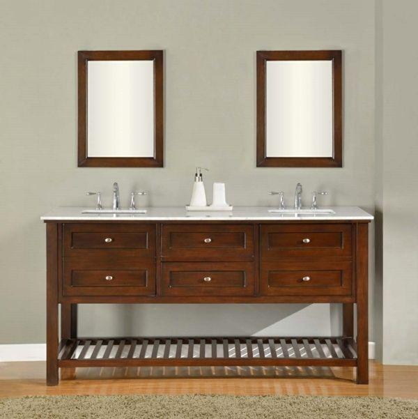 Waschbecken mit unterschrank schubladen und rechteckige for Badezimmer unterschrank holz