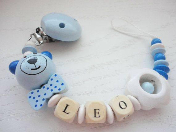 Hey i found this really awesome etsy listing at httpsetsy personalized baby boy gift baby shower gift boy pacifier clip unique baby gift wooden beaded name pacifier holder baby boy negle Images