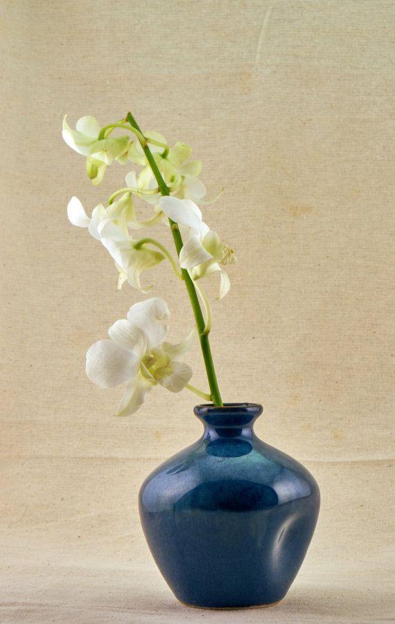 Dazzling Blue Japanese Ceramic Vase One Flower Ikebana Vase One