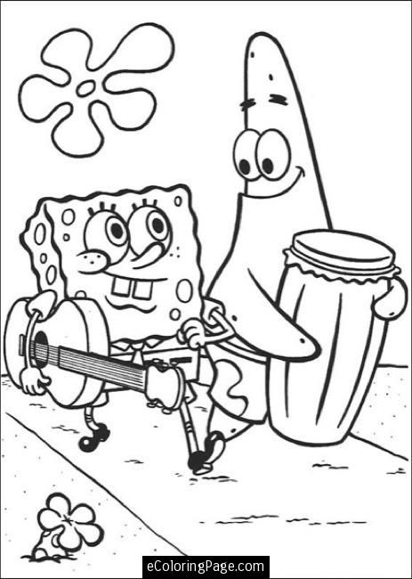Spongebob Patrick Walking Printable Coloring Page Spongebob