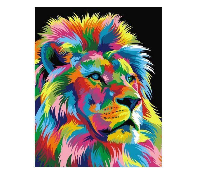 """Раскраска по номерам Артвентура """"Королевский Радужный лев ..."""