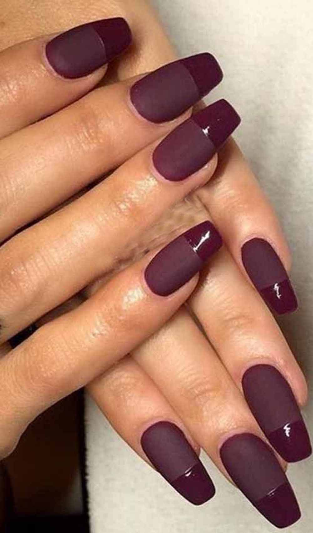 11 Astonishing Dark Red Colored Nail Designs You Should Try Nails Burgundy Nails Nail Designs