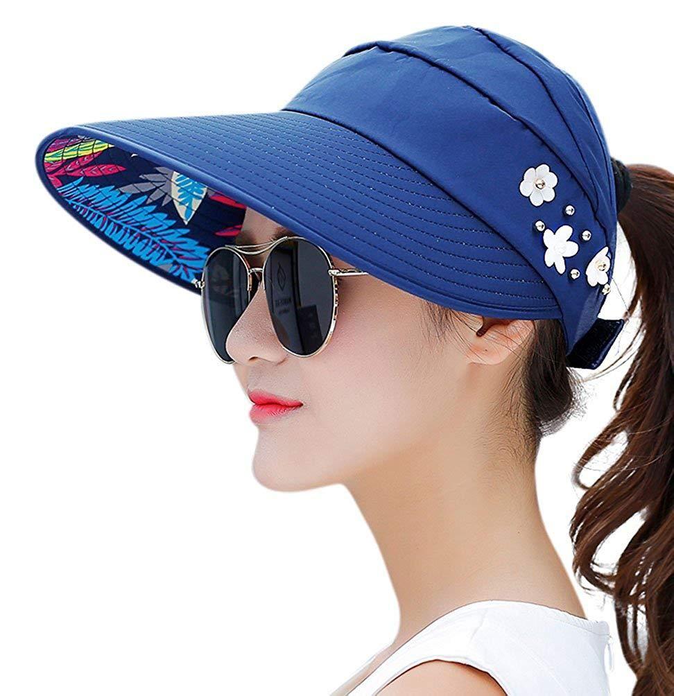 Ladies Sun Hat Wide Brim Floppy Summer Beach Hat Reversible Striped 100/% Cotton