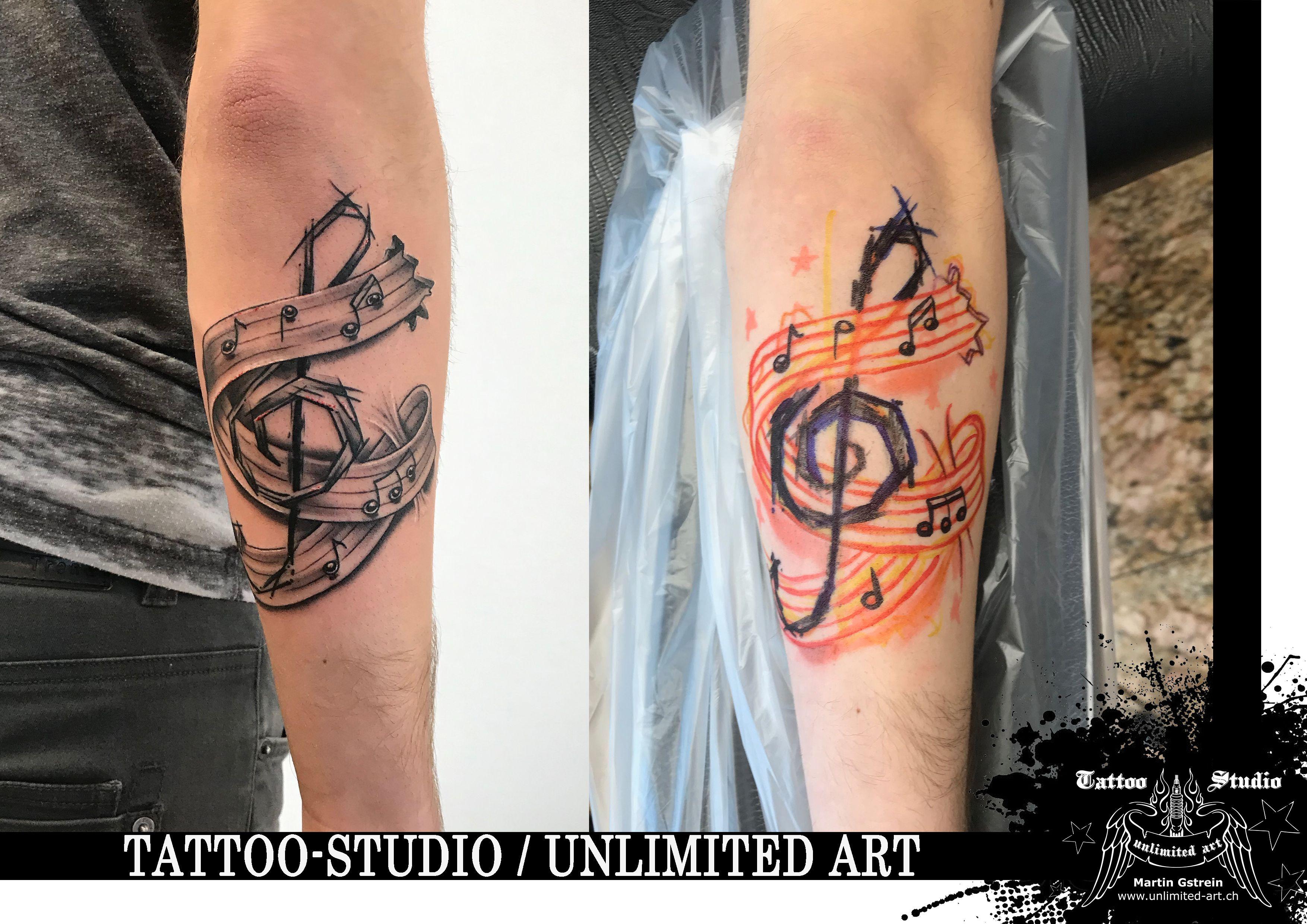 Black Grey Tattoo Notenschlussel Mit Notenband Clef With Music Ribbon Tatowierungen Graues Tattoo Tattoo Studio