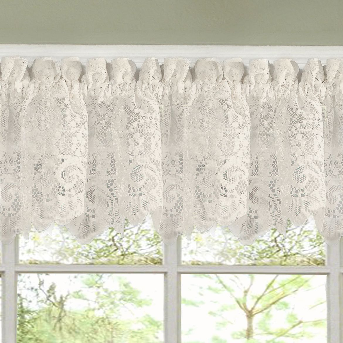N Luxurious Old World Style Lace Kitchen Curtains Tiers And Valances In Cream Tailored Valance Beige Off White Size 58 Inches Polyester