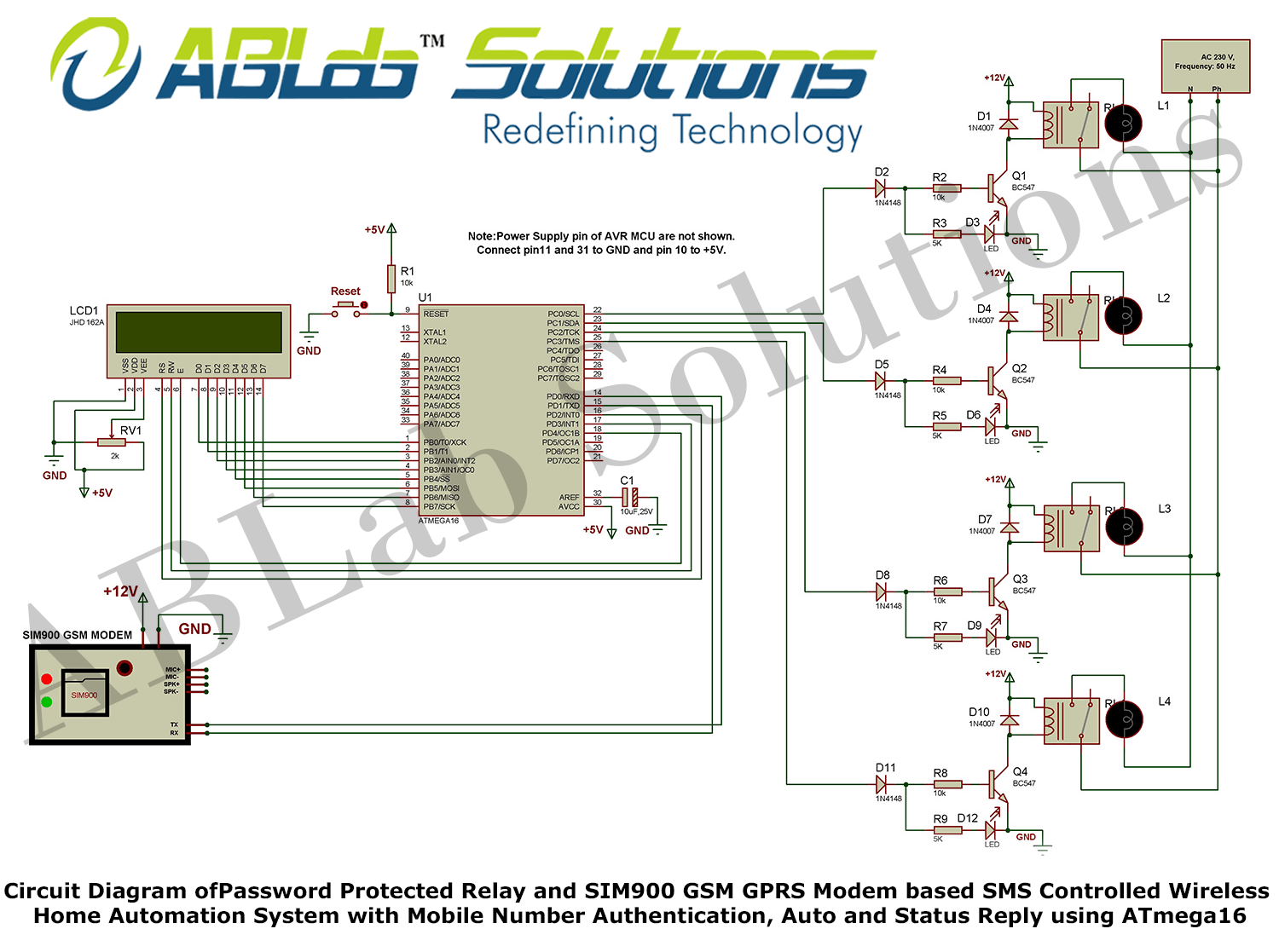 Circuit Diagram Of Password Protected Relay And Sim900 Gsm Gprs Modem Based Sms Controlled Wireless Hom Home Automation System Home Automation Microcontrollers